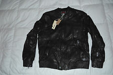 Authentic Diesel L-AJUGA Mens Flight Bomber Style Leather Black Mens Jacket XL