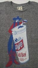 Palmer Cash Mens T-shirt S Schlitz Tall Boy Beer Can Cowboy Heathered Gray New