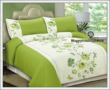 280TC Green White Flora Butterfly Embroidery Pintuck KING QUILT DOONA COVER SET