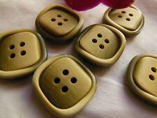 Lot 6 boutons vintage vert beige carré relief  diamètre 2,2 cm BV
