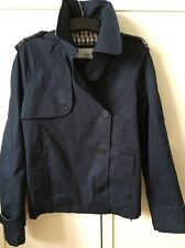 NEW Women's Aquascutum Navy Cotton Showerproof Jacket S Classic Check Lining