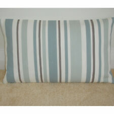 """20""""x12"""" Oblong Bolster Cushion Cover Stripes Duck Egg Beige Taupe Brown Cream"""