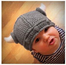 Nuovo Bambini Fatto A Mano Uncinetto Cappello Inverno Viking Corna