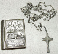 Antique Signed Sterling Silver ROSARY; Sterling & Glass Crystal Beads with CASE