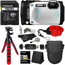 Olympus TG-870 Tough Waterproof Digital Camera White 32GB Memory Card USA Bundle