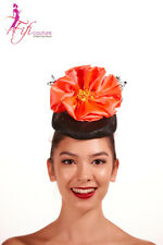 Black Fascinator with Large Orange Flower & Lace Back - Made in Aussie - BNWT