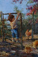 Lienkie Lombard Original Oil Painting Boy Farm Chickens South African Listed