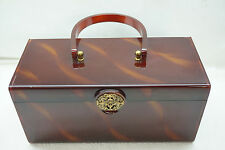 VINTAGE WILARDY LUCITE PURSE BOX HANDBAG BAG BROWN MARBLED FILIGREE CLASP MIRROR