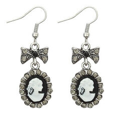 BLACK & WHITE CAMEO CRYSTAL DROP EARRINGS - Joe Cool Vintage Style with Bow