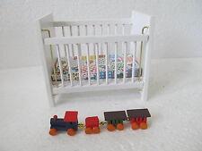 MES-40314 Neuzeitliches Holz Puppenstuben Kinderbett L:ca.11cm,H:ca.9,5cm,