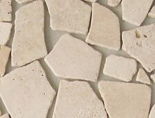 Travertin hell Mosaik Fliesen 0,5m² Bruchmosaik Antikmarmor Naturstein Steine