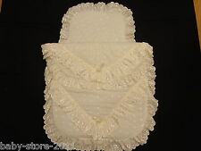 Beautiful Pram Quilt and Pillow  Set suitable for MOST PRAMS COLOUR  CREAM