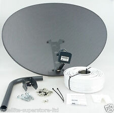 Sky Satellite Dish Zone 2 & Quad LNB + Full 20m Single White Install Kit + MORE