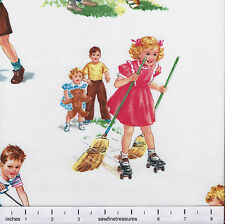 Dick and Jane Allover CHARACTERS on WHITE Michael Miller OOP Fabric By the Yard