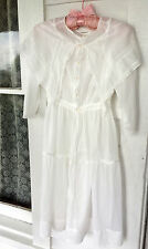Antique Victorian Edwardian NIghtgown Sleeping Dress underslip Lace pearl button