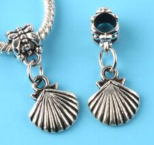 2pcs Tibetan silver shell Charm bead fit European Bracelet Pendant #W156