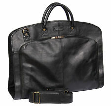Genuine LEATHER SUIT Carrier Bag Black Dress abbigliamento riguardano Viaggi Borsa Cabina NUOVO