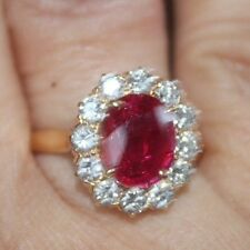 4.5 CT GIA CERTIFIED ESTATE UNHEATED (No Heat) BIRMA RUBY AND DIAMOND RING