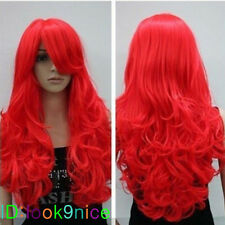New bright red long curly cosplay full wig + Free wig cap No:L58
