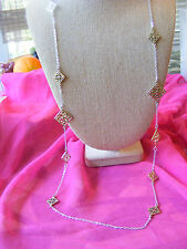 LONG, TRENDY SILVER CHAIN GOLD SQUARE MEDALLIONS NECKLACE LADIES WOMEN 38 INCHES
