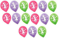 15ct ~ Sweet Girl First (1st) Birthday Latex Balloons Party Decoration Supplies