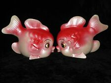 2 Vintage Chase Red & Pink Ceramic FISH Wall Hanging Pocket Plaques