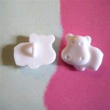 20 Hippo Kid Animal Craft Novelty Shank Clothes Sewing Buttons White K219
