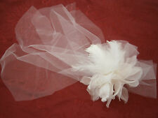 KLEINFELD WEDDING FASCINATOR HEAD HAIR PIECE COMB FLOWER NETTING FEATHERS NEW US