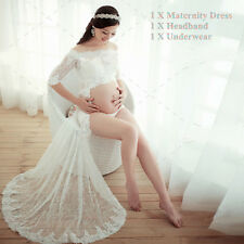 New 3pcs White Lace Maternity Gown Solid Maxi Dress Pregnant Photography Props