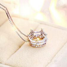 New pure 925 silver crystal diamond crown  charm neckless