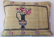 18 X 24 Floral Needlepoint Tapestry Aubusson Cottage Kilim Lumbar Pillow Cover