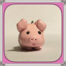 Very cute light pink Pig Polymer clay handmade charms with a white nickel chain