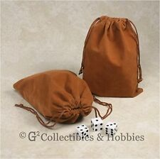 """NEW 5"""" x 7"""" Brown Velveteen Cloth Dice Bag 2pc Set RPG Game Counter Tokens Pouch"""