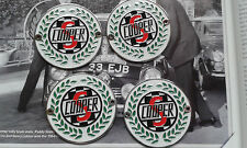 MINI COOPER CLASSIC BMC SPEEDWELL S CHROME ENAMEL ALLOY WHEEL CENTRE BADGES RARE