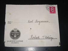 DR Deutsches Reich Heimatbeleg Brief J.A. Schmidt (Stahlwaren) SOLINGEN 26.10.31