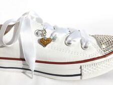 Gold Full Crystal Heart Shoelace Laces Charm Ideal on White Satin Ribbon Laces