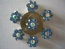 2 Hole Slider Beads Daisy Light Blue & AB Crystal Made with Swarovski Elements#7
