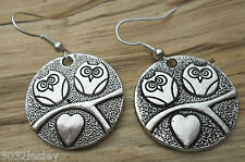 Perching Owls & Love Heart Round Tibetan Silver Dangle Hook Earrings NEW