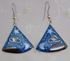 Alpaca Silver Shell Triangle Night Skies Drop Dangle Earrings Fashion Jewelry NE