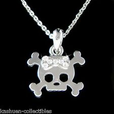 w Swarovski Crystal Cute Skull Crossbone Bow Jewelry Charm Pendant Necklace Gift