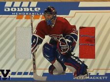2001-02 BE A PLAYER BETWEEN THE PIPES JEFF HACKETT DOUBLE MEMORABILIA
