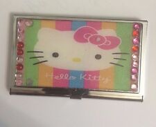Pink Hello Kitty Business Card Holder Credit Card Case w/ crystal border!