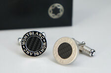 Unused Auth MONTBLANC Iconic Cufflinks Round Black x Silver Free Ship 675f12