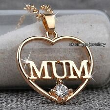 CHRISTMAS SALE - Gold Heart MUM Necklace Mother Gifts For Her Mother Mom Women