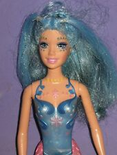 MERMAID BARBIE DOLL-PINK & BLUE-MOLDED TAIL-BLUE HAIR