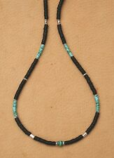 TURQUOISE NECKLACE 4mm. GEMSTONE HEISHE BLACK CO CO SILVER BEAD SURFER GEAR