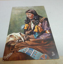 Tucks oilette Native North American Indian Lady posted 1907 Art