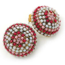 Boho Style Deep Pink/ White/ Baby Pink Beaded Dome Stud Earrings In Gold Tone -