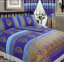 KASHMIR ROYAL BLUE GOLD SPOTS MIDDLE EASTERN ETHNIC FLORAL DOUBLE BED DUVET SET