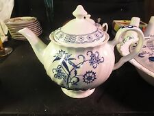 "Johnson Brothers Blue Nordic 7"" Tall Teapot AS IS Chip on Spout Made in England"